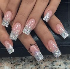 Glitter Ombre Nails Nail Art Nail designs, Stylish nails nail ideas glitter tips - Nail Ideas Sparkle Nails, Glam Nails, Hot Nails, Glitter Nail Art, Clear Nails With Glitter, Silver Glitter Nails, Stylish Nails, Trendy Nails, Luxury Nails