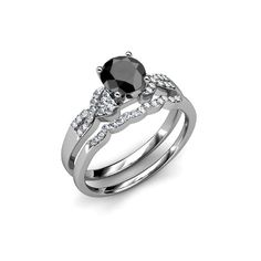 Make your look sparkling wearing this black and white diamond bridal set ring which is a craft in 14k white gold and approx 1.90 Carat in weight. Moissanite Wedding Rings, Diamond Wedding Rings, Diamond Bands, Wedding Ring Bands, Gold Wedding, Swirl Engagement Rings, Black Diamond Jewelry, Bridal Ring Sets, Beautiful Rings