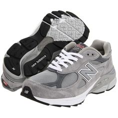New Balance W990v3 (Grey) Women's Running Shoes ($150) ❤ liked on Polyvore featuring shoes, athletic shoes, sneakers, sko, low platform shoes, gray shoes, running shoes, platform shoes and long shoes