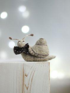 Needle Felted Snail  Felt Snail With A Brown FeltArtByMariana