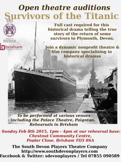 Open auditions for our spring 2015 stage production about the #Titanic
