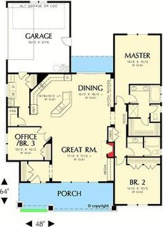 I would remove bedroom # and downsize the master suite, and probably move it to the other side of the house, but the open living area is awesome and original. House Plans One Story, One Story Homes, Best House Plans, Small House Plans, House Floor Plans, Master Suite, Casa Stark, Double Wide Remodel, Butler