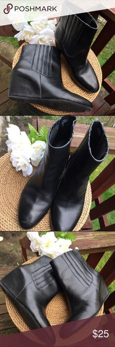 Nine West leather hidden wedge ankle booties Great Used condition. Some wear but have a lot of wear left! Light toe scuffing but nothing noticeable Nine West Shoes Ankle Boots & Booties