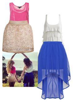 """Mercedes Lambre y Martina Stoessel"" by cachito-violetta ❤ liked on Polyvore featuring Wet Seal, Glamorous and DKNY"