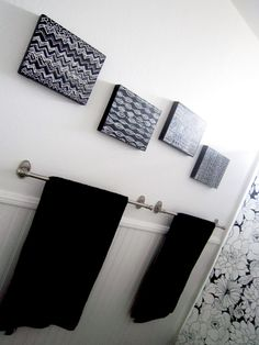 Alisa Burke doodled on black canvas with white out pen to add some decor in her bathroom. Gorgeous and simple!