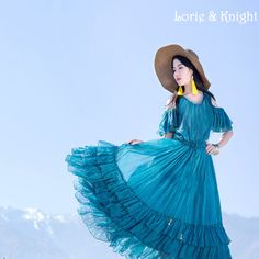 Bohemia Full Circle Blue Chiffon Tiered Dress Fairy Ruffles Drawstring Elastic Waist Beach Long Dress