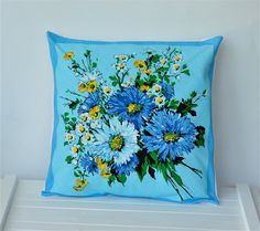 Hey, I found this really awesome Etsy listing at https://www.etsy.com/listing/100201456/sale-vintage-beaded-pillow-upcycled-blue