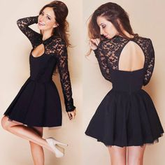 Womens Cocktail Party Bare Back Long Sleeve Lace Short Mini Dress s M L XL XXL | eBay