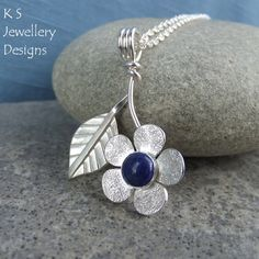 Lapis Lazuli Flower and Leaf Sterling Silver by KSJewelleryDesigns