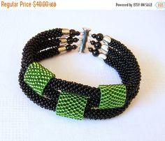 WINTER SALE Beded crochet bracelet - Beadwork bracelet - 3 Strand Bead Crochet Bracelet in black and green - modern bracelet
