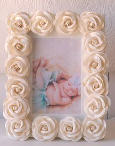 A Vintage Room Cream Rose Picture Frame: We chose this beautiful cream frame to help tie in the cream silk dupioni in Hope's bedding, and, I have a special love of Roses as Rose is my first child's middle name. Picture Frame Crafts, Picture Frames, Fabric Flowers, Paper Flowers, Crafts To Make, Easy Crafts, Rose Frame, Rose Pictures, Vintage Room