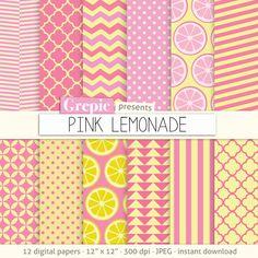Pink lemonade digital paper PINK LEMONADE pink yellow by Grepic, $4.90