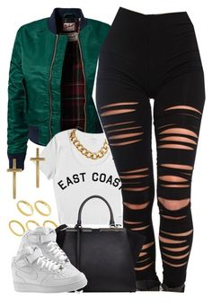 """Untitled #1337"" by power-beauty ❤ liked on Polyvore featuring Schott NYC, Akira, ASOS, Fendi and NIKE"