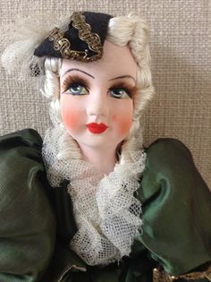 Vintage 20 Inch Boudoir Doll Very Beautiful Cloth Painted Face