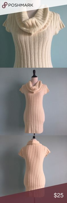 Cowl-Neck Cream Sweater Dress Beautiful cream-colored cowl-neck sweater dress. In excellent condition. Warm and comfortable. Size small by express. Express Dresses