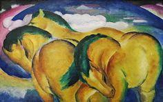Franz Marc (1880-1916), Petits chevaux jaunes 1912, Huile sur toile, 66 x 104,5 cm, Staatsgalerie Stuttgart