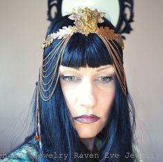 Art Nouveau Will'o wisp headdress with raw amber, amethyst crystals, and glass.