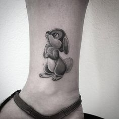 Black and grey ink Thumper tattoo by Fanny