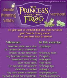 Princess and the Frog movie workout Tv Workout Games, Netflix Workout, Tv Show Workouts, Fun Workouts, At Home Workouts, Netflix Tv, Workout Ideas, Morning Workouts, Workout Guide