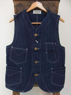 "【FREEWHEELERS & CO.】""UNION SPECIAL OVERALLS"" #1121006 CONDUCTOR VEST \\ INDIGO WABASH STRIPE"