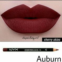 NYX Lip Bundle NYX Liquid Suede- Cherry Skies NYX Slim Lip Pencil- Auburn NYX Makeup Lipstick #lipcolorsnyx