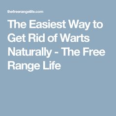 The Easiest Way to Get Rid of Warts Naturally - The Free Range Life