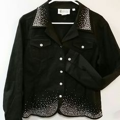 Crystal encrusted jean jacket Gorgeous Swarovski Crystal encrusted black jean jacket NWOT by Christine Alexander. Hundreds of gems and crystals! Christine Alexander Jackets & Coats Jean Jackets