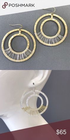"Unique bohemian large silver circles w/gold wiring Unique bohemian large silver circles with gold wiring drop dangle earrings 2.3"" diameter Pomina Jewelry Earrings"