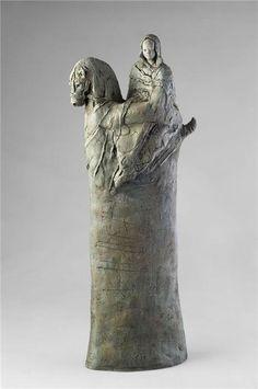 green - woman and horse - figurative sculpture - Elisabeth Dupin-Sjöstedt