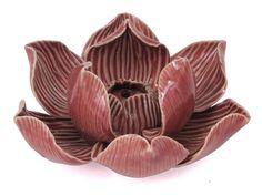 Pink and Beige Ceramic Lotus Incense Burner