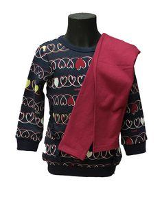 Tutina Brums - Abbigliamento da Castagna - Completo Brums con felpa 100% cotone peso felpatino un po più lunga e leggins aderente . Carinissima la fantasia all over con cuoricini e scritta brums .