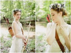 is there anything cooler than a bride with a bow and arrow? Hunger games wedding anyone? With Love & Embers Photography | Bridal Musings
