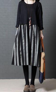 c401e7a8438 Women dress loose fit stripes pocket Bohemian Boho long sleeve tunic large  size  Unbranded   · Black And White ...
