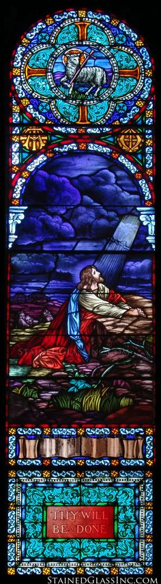"""""""The Olive Grove Prayer"""" Religious Stained Glass Window"""