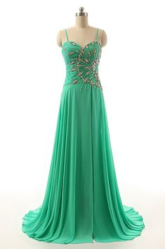Beaded green chiffon prom dress with straps