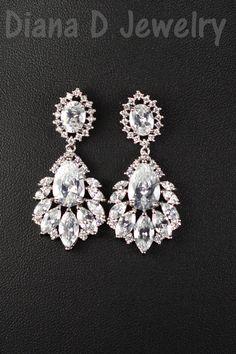 Wedding Jewelry Bridesmaid Gift Bridesmaid Jewelry Bridal Jewelry chandelier Drop Earrings Cubic Zirconia dangle Earrings,bridesmaid gifts