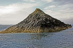 Staffa (old Norse for pillar island) - The Vikings chose its name because of the slanting basalt columns that reminded them of their houses, which were built from vertically placed tree-logs;  the uninhabited island is in the Inner Hebrides of Scotland;  Fingal's Cave is located on Staffa;  photo by WildVanilla (Rob), via Flickr