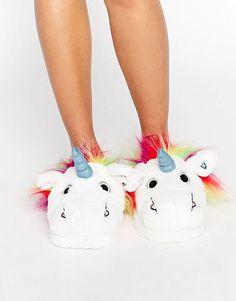 ASOS NEVADA SKY Unicorn Slippers - White