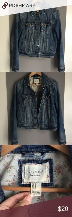 Jean Jacket, Forever 21, Medium, distressed EUC Forever 21, premium denim, distressed Jean jacket. Size Medium (juniors). Sits slightly cropped, modeled in last photo. Distressed for edgy look. Only worn once, I gained some weight and it no longer fits me. I absolutely LOVE this Jean jacket and I'm sad to part with it, so I hope it's new owner loves it just as much! Silver hardware. Forever 21 Jackets & Coats Jean Jackets