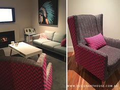 Custom made armchair featuring hot pink and grey fabrics. Pink Grey, Hot Pink, Grey Fabric, Custom Made, Armchair, Fabrics, Couch, Table, Furniture