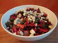Salade met rabarber en rode biet