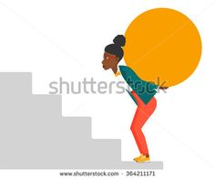 Woman carrying stone.