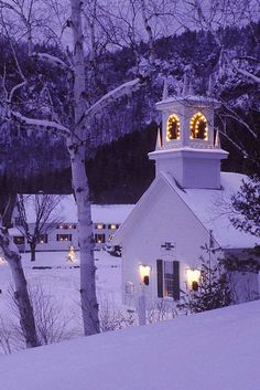 Church lit up for Christmas in Winter snow FROM: theenchantedcove: http://www.pinterest.com/pin/310889180498252188/
