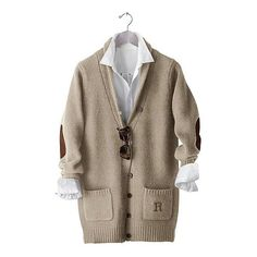 Mark & Graham Classic Long Wool Cardigan Sweater (17210 DZD) ❤ liked on Polyvore featuring tops, outerwear, natural, low v neck tops, hipster tops, brown top, woolen tops and deep v neck top