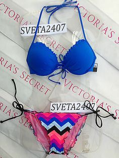 New Sexy Victoria's Secret Swimsuit Fabulous Bikini Bandeau Neon Chevron 34A 34D