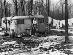 Ford Motor National Defense housing at the Willow Run Plant during the winter of 1943. Many employees were housed at Willow Run in huge government-built temporary dormitory-style housing for 14,000 workers. Others lived in tents, garages and trailers. There were angry calls for more permanent housing.  The Detroit News archives