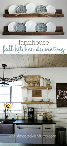 Beautiful farmhouse kitchen all decorated for fall - lots of great budget friendly decorating ideas!