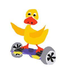 Cool Funny Yellow Duck on Motorized Skateboard