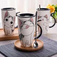Cheap ceramic mug, Buy Quality ceramic mug with lid directly from China porcelain mug Suppliers: Cute Cat Style Ceramic Mugs with Lid & Spoon Cartoon Creative Moring Mug Milk Coffee Tea Unique Porcelain Mugs Ceramic Mug With Lid, Porcelain Mugs, Ceramic Mugs, China Porcelain, Cold Porcelain, Porcelain Veneers, Dresden Porcelain, Ceramic Bowls, Ceramic Art