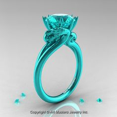 Art Masters 14K Turquoise Gold 3.0 Ct Blue Zircon Dragon Engagement Ring R601R2-14KTGBZ